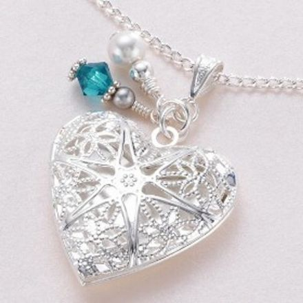 Heart Locket Necklace with Birthstone and Pearl